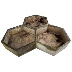 Three Large Hexagon Shaped Planters by Swiss Architect Willy Guhl