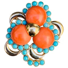 Three Leaf Clover Coral Turquoise Gold Brooch, Italy