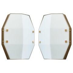Three pair Arredoluce Sconces in Satin Opaline Glass, Italy, 1960s