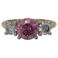 Three Stones Round 1.17 Carat Sapphire Diamond Engagement Ring in 18 Carat Gold
