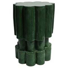 Three-Tier Contemporary Ceramic Chrome Green Cloud Side Table