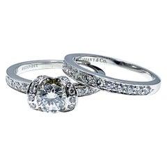 Tiffany & Co. 0.62 Carat Ribbon Platinum Ribbon Ring and Wedding Band