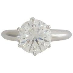 Tiffany & Co. 1.59 Carat Platinum Round Diamond Solitaire Engagement Ring Ideal