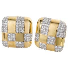 Tiffany & Co. 18 Karat Yellow Gold and Diamond Checkerboard Earrings