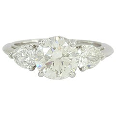 Tiffany & Co. 2.45 Carat Platinum 3-Stone Round and Pear Diamond Engagement Ring