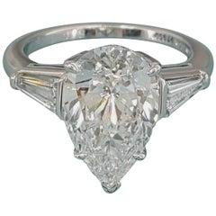 Tiffany & Co. 4.40 Carat Platinum Pear Diamond Engagement Ring E/VVS1