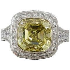 Tiffany & Co 5.15 Carat Platinum Legacy Cushion Fancy Intense Yellow
