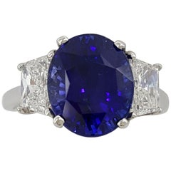 Tiffany & Co. 6.55 Carat Platinum Oval Royal Blue Sapphire and Diamond Ring