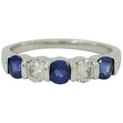 Tiffany & Co. Bar Set 1.15 Carat Platinum Blue Sapphire and Diamond Ring