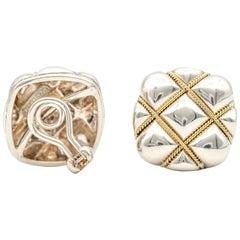 Tiffany & Co. Cushion Silver and 18 Karat Gold Earrings