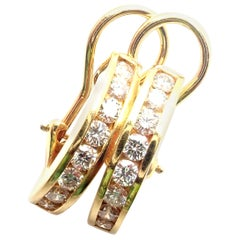 Tiffany & Co. Diamond Hoop Bar Yellow Gold Earrings