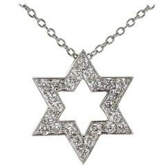 Tiffany & Co Diamond Platinum Star of David Pendant Necklace
