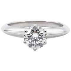 Tiffany & Co. Engagement Ring with .96 Carat Round Brilliant Centre in Platinum