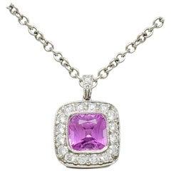 Tiffany & Co. Pink Sapphire Diamond Platinum Legacy Pendant Necklace