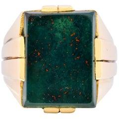 Tiffany & Co. Retro Bloodstone 14 Karat Yellow Gold Unisex Signet Ring