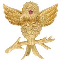 Tiffany & Co. Ruby Eyed Bird on Branch Brooch Set in 18 Karat Yellow Gold