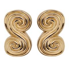 Tiffany & Co Scroll Gold Clip On Earrings
