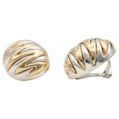 Tiffany & Co. Silver and Gold Zig Zag Dome Earrings