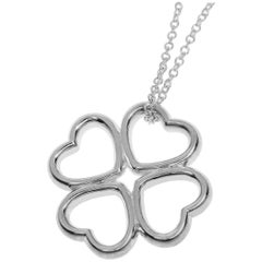 Tiffany & Co. Sterling 925 Silver Heart Clover Motif Pendant Necklace