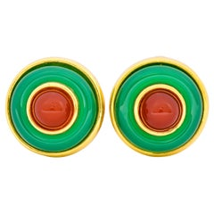 Tiffany & Co. Vintage Carnelian Chrysoprase Circular Cabochon Ear-Clip Earrings