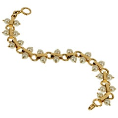 Tiffany & Co. Vintage Pearl Yellow Gold Bracelet