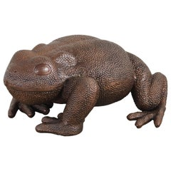 Toad Sculpture, Antique Copper by Robert Kuo, Hand Repousse, Limited Edition