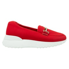 Tod's Red 'Happy to Be Free' Platform Loafers