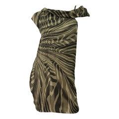 Tom Ford for Gucci Olive + Khaki Zebra Print Silk Chiffon Off Shoulder Dress