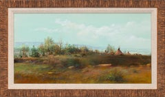 """""""Sioux Camp"""" Framed Original Mixed Media on Paper Landscape by Tom Perkinson"""