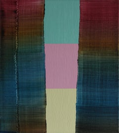 Untitled 21 - Contemporary Abstract and Colorful Oil Painting, Textile Lightness