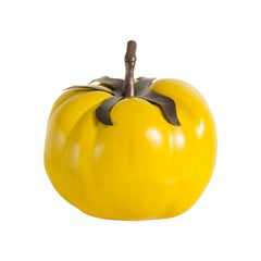 Tomato with Copper Stem, Yellow Lacquer by Robert Kuo, Hand Repousse