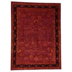 Tone on Tone Red Kashan Handmade Wool and Silk Oriental Rug