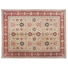 Traditional Pakistani Beige Floral Rug with Red and Teal