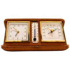 """Travel Alarm Clock """"Europe"""" with Thermometer and Barometer, circa 1950s"""