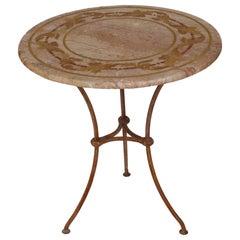 Travertine Tea Table Lamp Table Decorative Inlays Side Table Gueridon