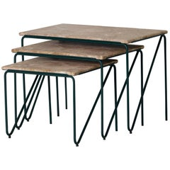 Triptych Nesting Tables in Monaco Brown Marble with Cedar Green Frame