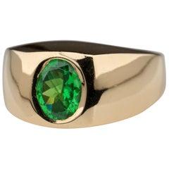 Men's Gold Ring with Tsavorite Garnet