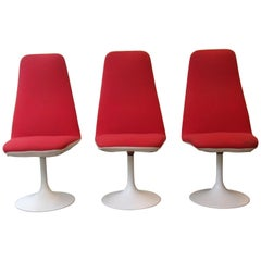 Tulip Base Red Dinning Chairs, 1970s