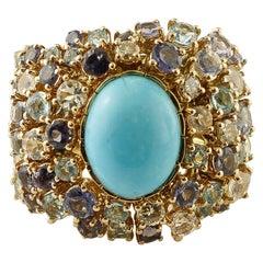 Turquoise, Diamonds, White Sapphires, Topazes, Iolite, 14 Karat Yellow Gold Ring