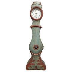 Turquoise Mora Clock Swedish Early 1800s Antique Fryksdall Crown Painted Red