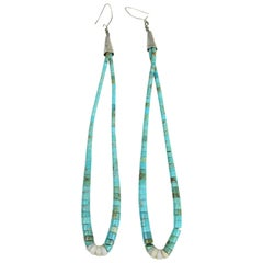 Turquoise Shell Earrings Sterling Silver Native American Zuni