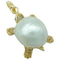 Turtle Brown Black Diamond 18 Karat Gold Pendant/Necklace or Charm
