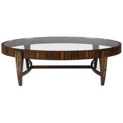 Tusk Oval Coffee Table, Contemporary Handmade Macassar Ebony and Glass