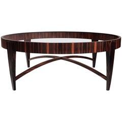 Tusk Round Coffee Table, Contemporary Handmade Macassar Ebony and Glass