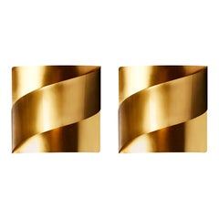 Twelve Brass Ribbon Wall Sconces by Peter Celsing for Falkenbergs