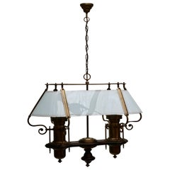 Two Elegant Glass and Copper Ceiling Lights