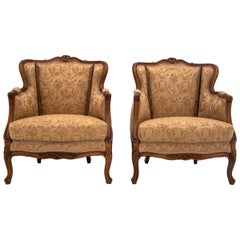 Two French Yellow Bergere Chairs, Restored
