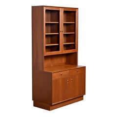 Two-Piece Danish Modern Teak Display China Hutch Cabinet by Brouer Møbelfabrik