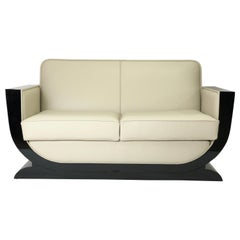 U-Shaped Black and White Art Deco Style Couch with Black Piano Lacquer