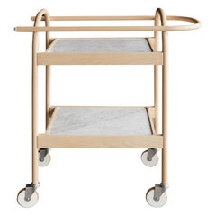 U3 Serving Trolley/ Bar Cart in Solid Wood and Carrara Marble by Bowen Liu